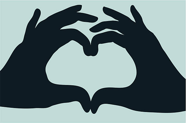 Two hands one love vector art illustration