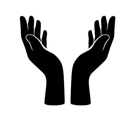 two hands opening, want to lift something. vector illustration