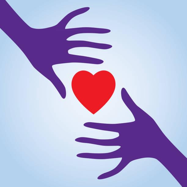 illustrazioni stock, clip art, cartoni animati e icone di tendenza di two hands reaching for heart - mano donna dita unite