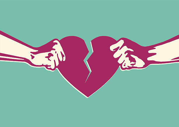 illustrazioni stock, clip art, cartoni animati e icone di tendenza di due mani cuore in due pezzi - divorzio