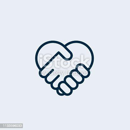 Two hands together. Heart symbol. Handshake icon, logo, symbol, design template
