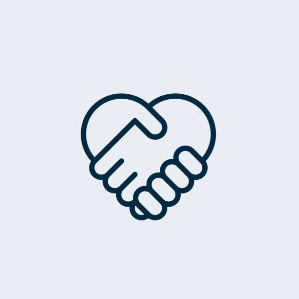 illustrazioni stock, clip art, cartoni animati e icone di tendenza di two hands together. heart symbol. handshake icon, logo, symbol, design template - prendersi cura del corpo