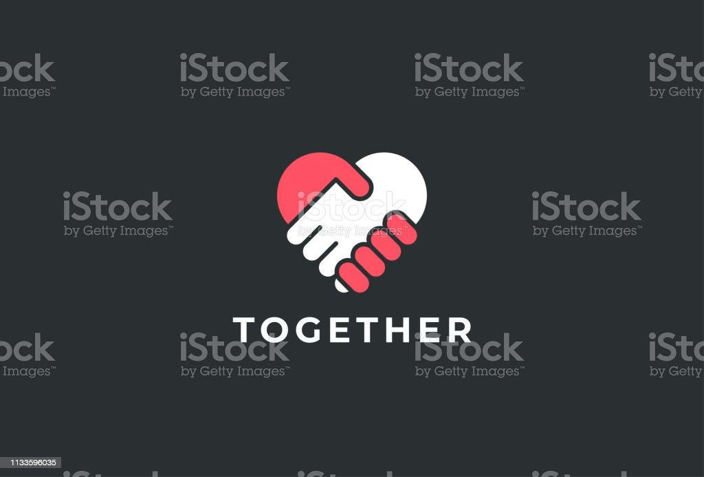 두 손이 함께. 심장 기호입니다. 핸드셰이크 아이콘, 로고, 기호, 디자인 서식 파일 - 로열티 프리 2명 벡터 아트