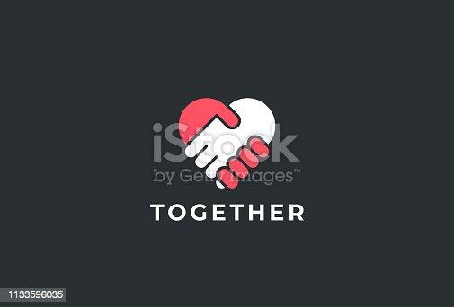 istock Two hands together. Heart symbol. Handshake icon, logo, symbol, design template 1133596035
