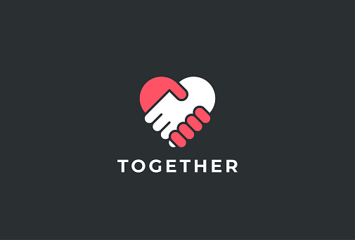 Two hands together. Heart symbol. Handshake icon, logo, symbol, design template clipart