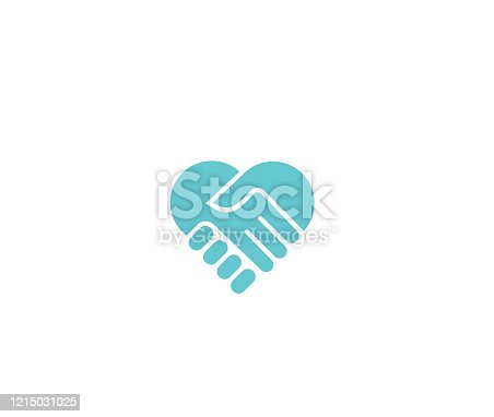 istock Two hands together. Heart symbol. Handshake icon 1215031025