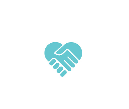 Two hands together. Heart symbol. Handshake icon