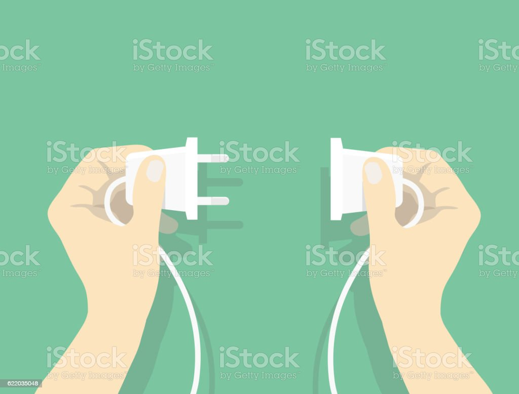 Two hands trying to connect electric plug vector art illustration