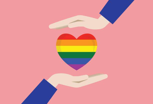 ilustrações, clipart, desenhos animados e ícones de duas mãos com o coração do arco-íris - lgbt