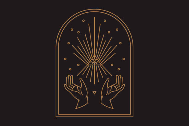 two hands with all seeing eye symbol. vision of providence. alchemy, religion, spirituality, occultism - lodge member stock illustrations