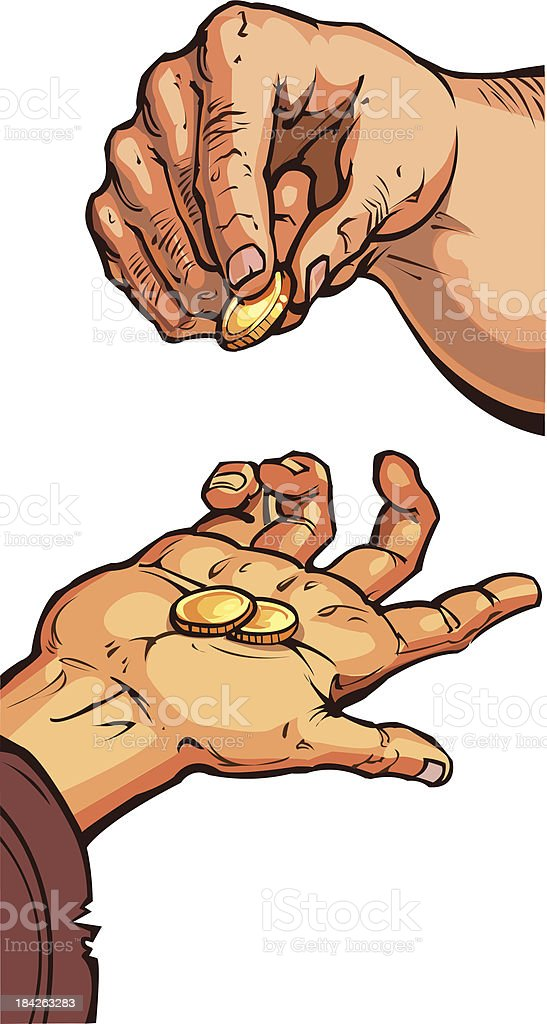 two hands with coins vector art illustration