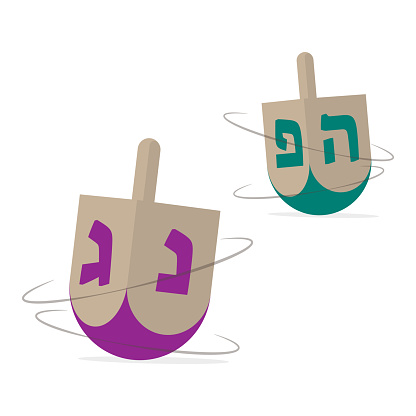 Two Hannukah dreidels icons. Jewish holiday traditional game. Isolated vector illustration.