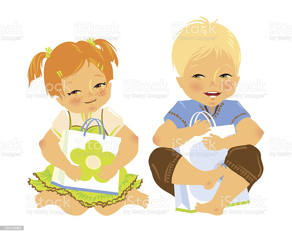Two happy baby with a paper bag in hands royalty-free stock vector art