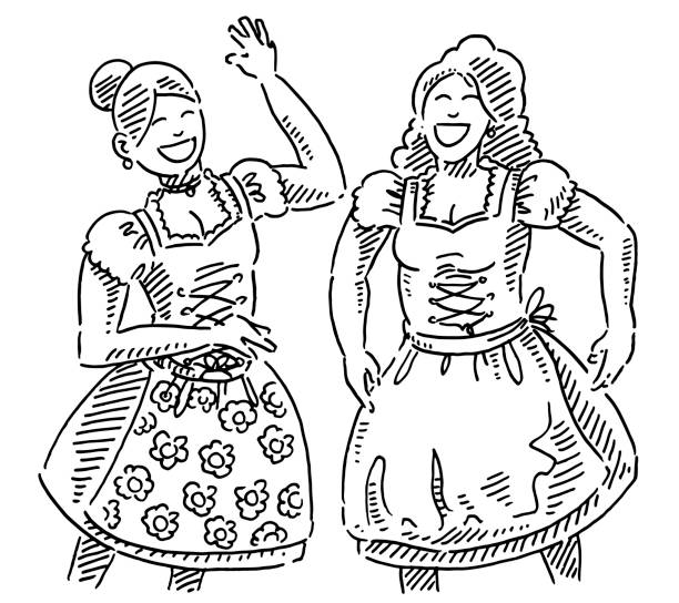 Two Happy Bavarian Women In Traditional Dirndl Clothing Drawing Hand-drawn vector drawing of Two Happy Bavarian Women In Traditional Dirndl Clothing. Black-and-White sketch on a transparent background (.eps-file). Included files are EPS (v10) and Hi-Res JPG. oktoberfest stock illustrations