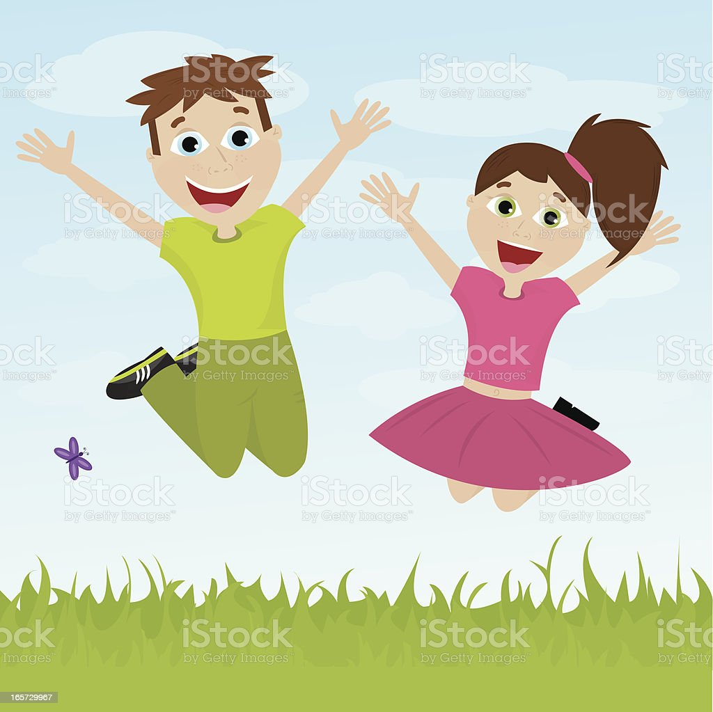 Two Happy Children Jumping in a Field royalty-free stock vector art