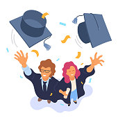 Two happy college graduates throwing academic caps vector illustration. View from above. Happy graduation. Cartoon smiling university students. Flat style. Eps 10.