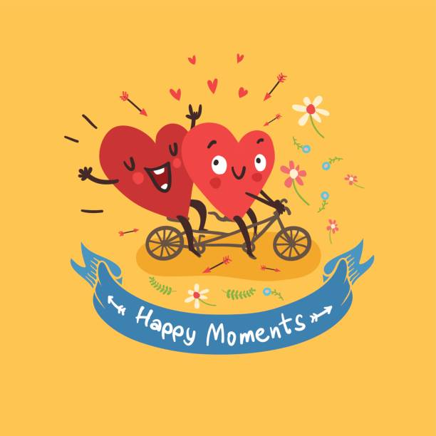 "ilustrações de stock, clip art, desenhos animados e ícones de two happy hearts biking with tandem bike on yellow background with flowers and ribbon with ""happy moments"" text. vector card for wedding - bike emoji"