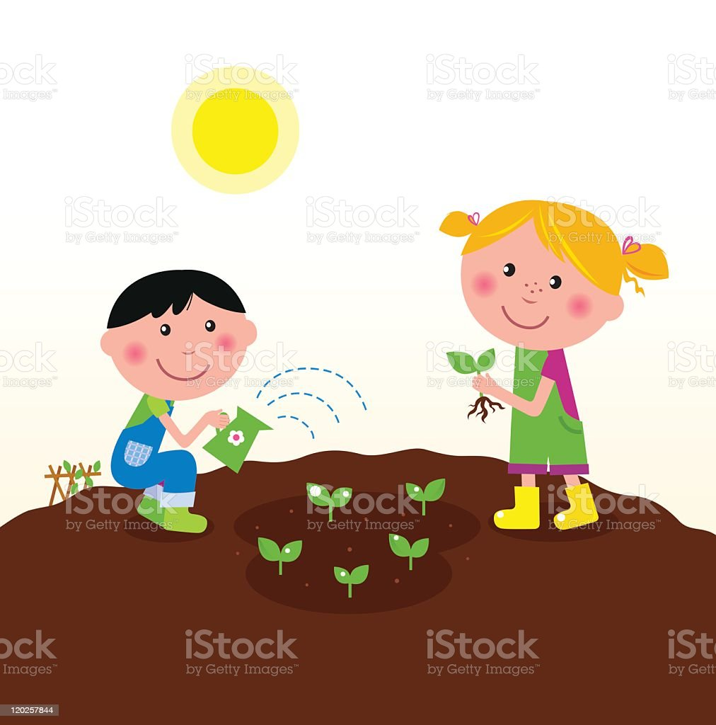 Two happy kids watering and planting plants in the garden royalty-free two happy kids watering and planting plants in the garden stock vector art & more images of agriculture