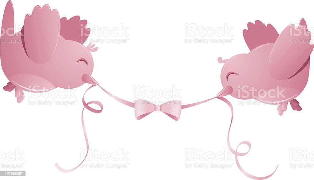 Two Happy Pink Birds with Ribbon Isolated royalty-free stock vector art