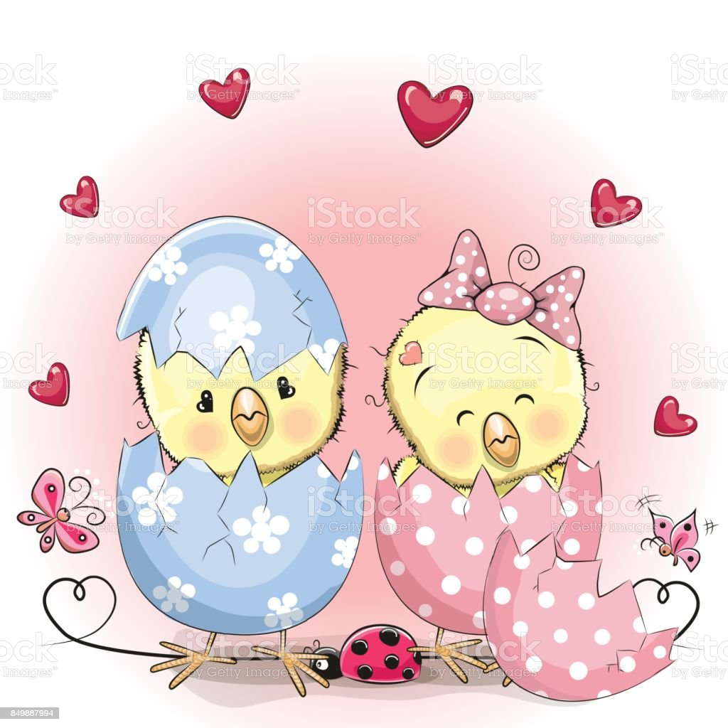 two hatched chick vector art illustration