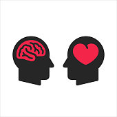 Two head silhouette with heart and brain symbols inside, logic and feel choice concept, flat style icons vector illustration isolated on white background