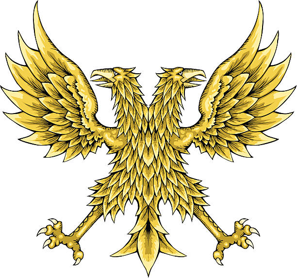 Bicéfalo eagle - ilustración de arte vectorial