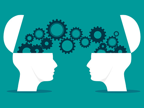 Two heads and gears. sharing ideas between two heads. brainstorming vector. business concept