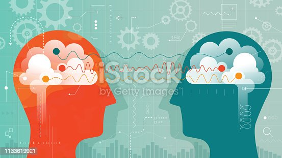 Vector illustration showing two heads with brain and connected with brain waves surrounded with gears and lot of different measuring elements .