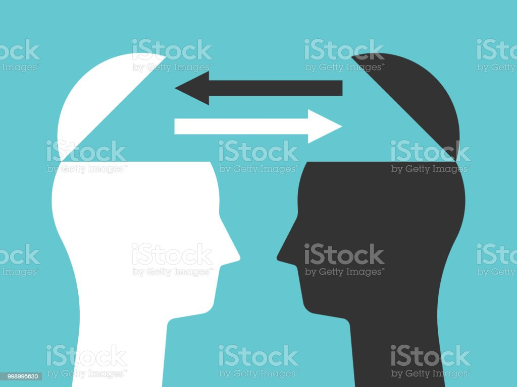 Two heads exchanging thoughts - Векторная графика Абстрактный роялти-фри