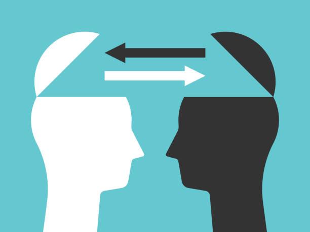 생각을 교환 하는 두 개의 머리 - 개념 stock illustrations