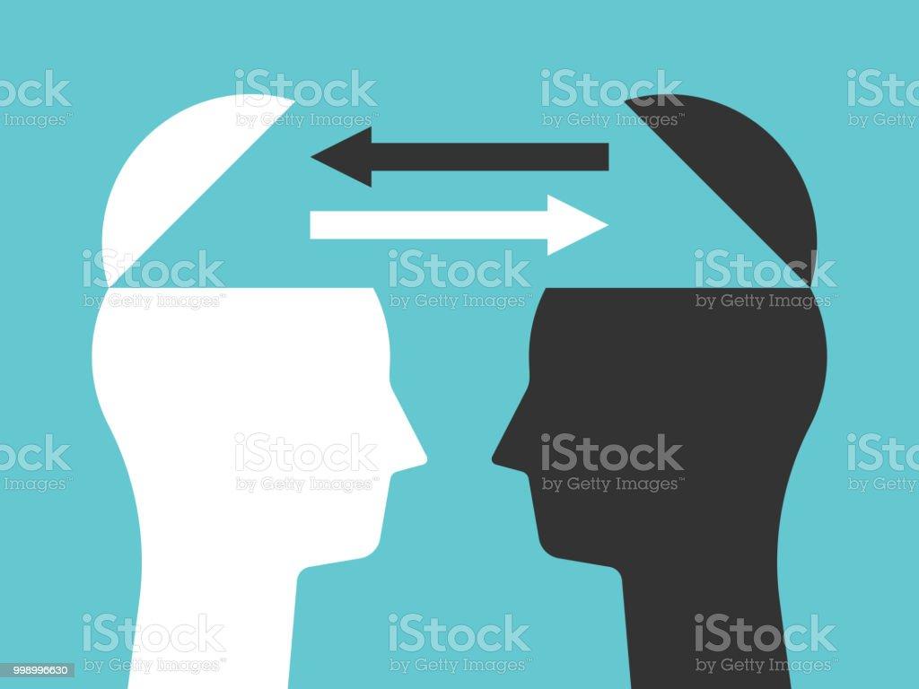 Zwei Köpfe, die Austausch von Gedanken – Vektorgrafik