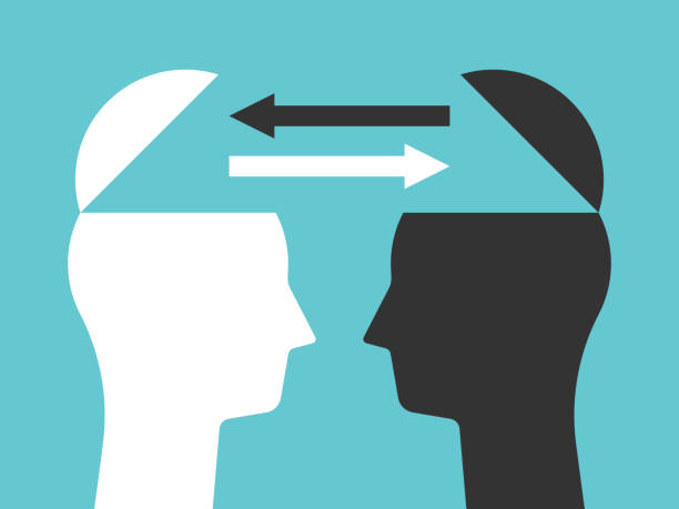 two heads exchanging thoughts - autorytet stock illustrations