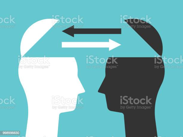 Two Heads Exchanging Thoughts — стоковая векторная графика и другие изображения на тему Абстрактный