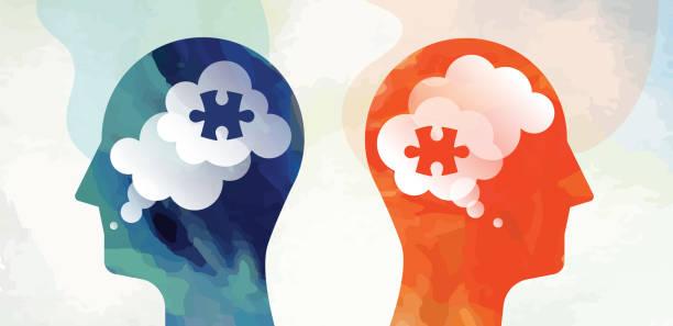 two heads puzzle communication problem concept - kontrast stock illustrations