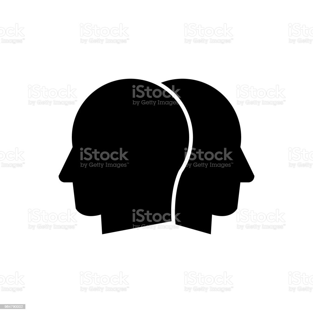Two heads, two faces looking away vector icon, competition, different opinion vector icon royalty-free two heads two faces looking away vector icon competition different opinion vector icon stock vector art & more images of adult