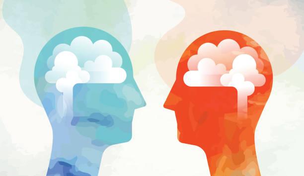 Zwei Köpfe mit Gehirn – Vektorgrafik
