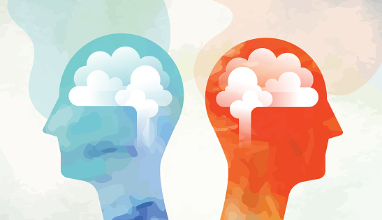 Illustration montage made from two different vectorised acrylic paintings and vector elements showing two heads with brain each one looking into opposite direction.