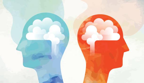 ilustrações, clipart, desenhos animados e ícones de duas cabeças com cérebro olhando o lado oposto - cabeça