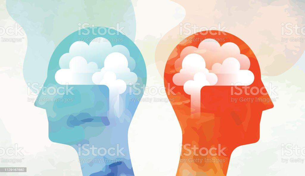 Zwei Köpfe mit Gehirn auf der gegenüberliegenden Seite Suche – Vektorgrafik
