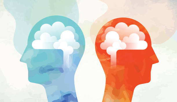 two heads with brain looking opposite side - abstract silhouettes stock illustrations