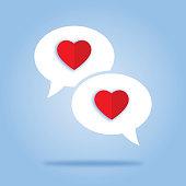 istock Two Heart Speech Bubbles 942455598
