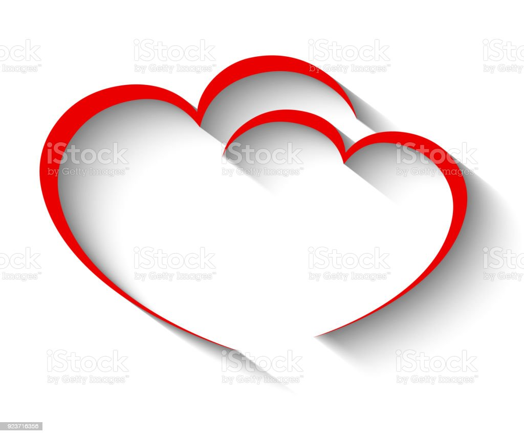 Two heart with shadow - stock vector vector art illustration