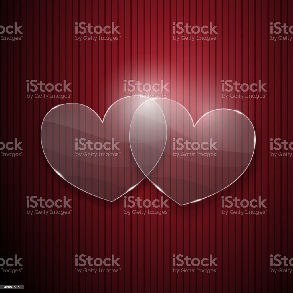 Two hearts from glass royalty-free stock vector art