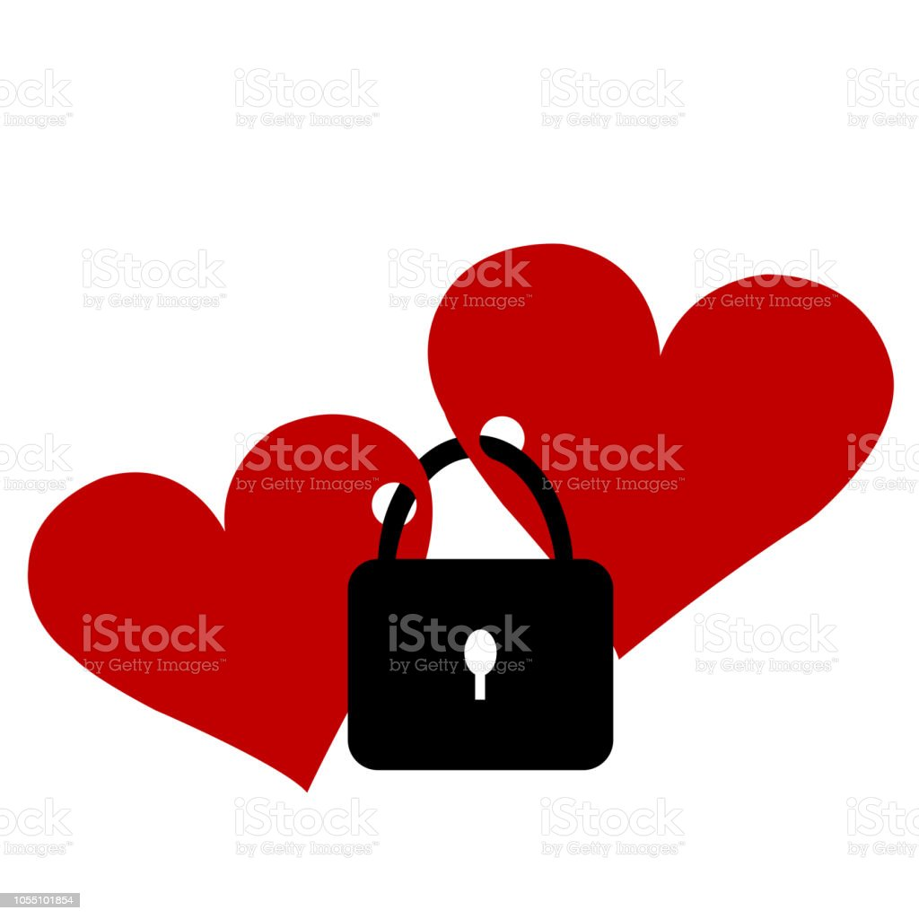 Two hearts locked with the lock vector art illustration