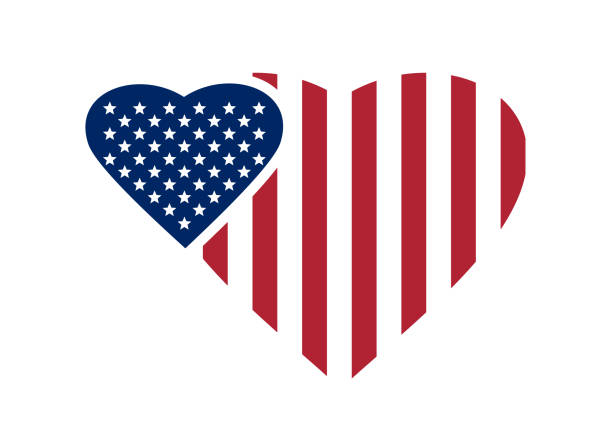 Royalty Free American Flag Heart Clip Art, Vector Images ...