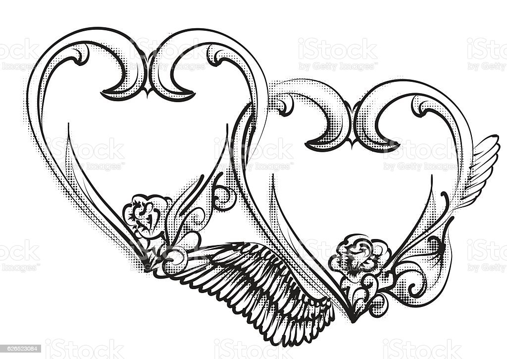 royalty free two hearts tattoo designs clip art vector images rh istockphoto com Swirl Heart Tattoo Design Swirl Heart Tattoo Design