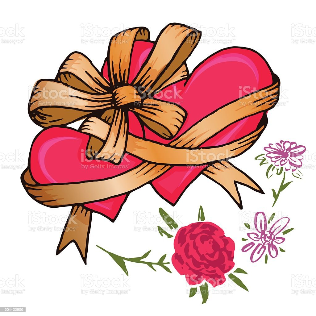 Two Hearts Tied With A Ribbon Bow And Flowers Royalty Free