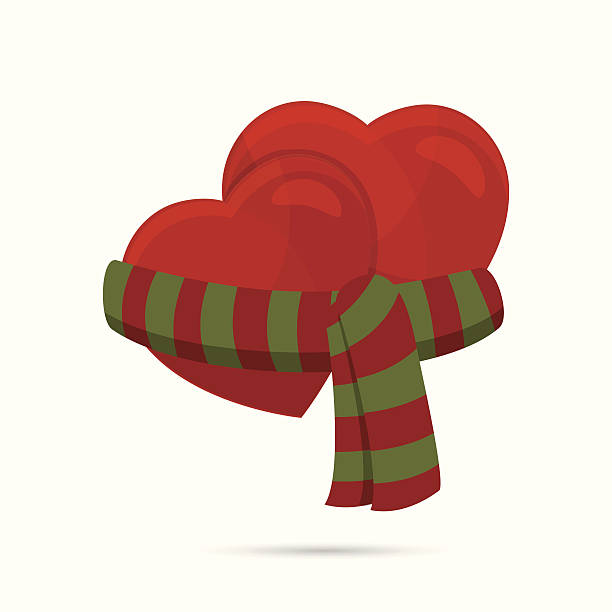 stockillustraties, clipart, cartoons en iconen met two hearts wrapped up with a scarf - sjaal