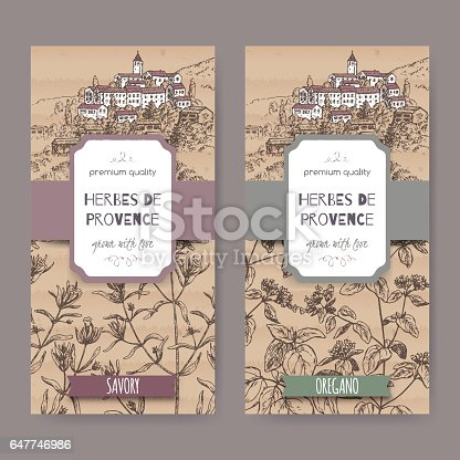 istock Two Herbes de Provence labels with town, savory and oregano. 647746986