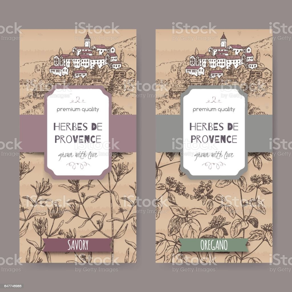 Two Herbes de Provence labels with town, savory and oregano. vector art illustration